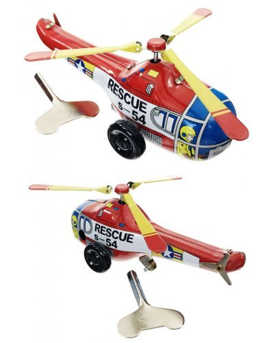 Rescue Helicopter Tin Toy Wind Up