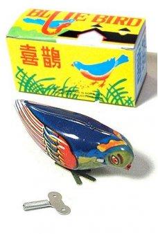 Pecking Blue Bird Classic Tin Toy
