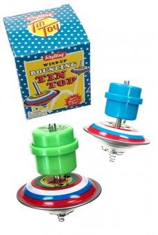 Windup Bouncing Tin Toy Top