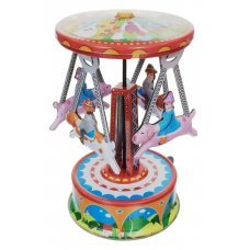 Tin Toy Pig and Puppy Carousel Mini