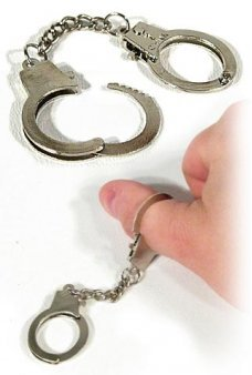Miniature Metal Thumbcuffs Handcuffs Joke