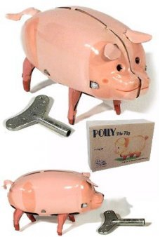 Polly the Pig Walking Tin Toy