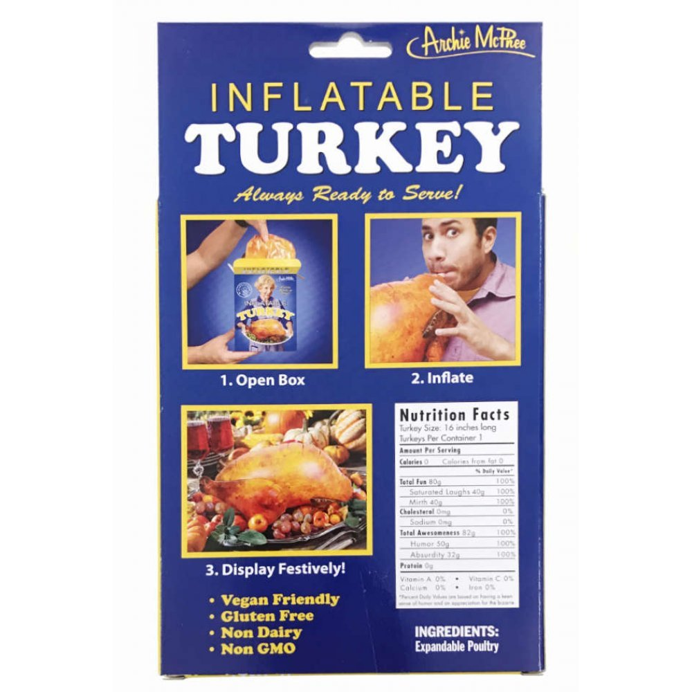 Inflatable Turkey : Instant Holiday in Box: 16 inch : Blow Up Vinyl