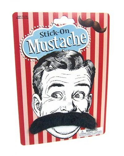Manly Mustache Stick On 4 Inch Black
