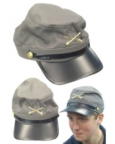 Grey Fabric Kepi Hat
