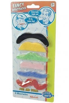 Fancy Moustaches Rainbow Hair Set of 6