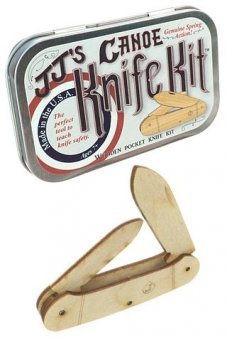 Canoe Wooden Knife Kit USA Tin Box