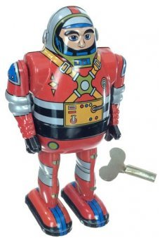 Astronaut Red Robot Tin Toy Wind Up