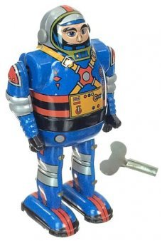 Astronaut Blue Robot Tin Toy Wind Up