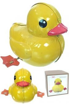 Yellow Ducky Spinning Wind Up Tin Toy