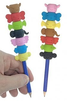 Totem Pole Erasers Set on Pencil