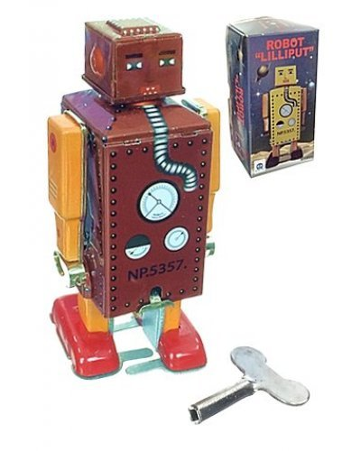 Lilliput Little Robot Tin Toy Golden Brown
