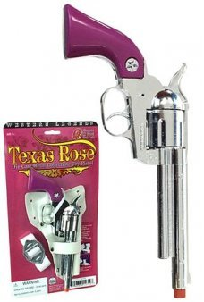 Texas Rose Silver Revolver 12 Shot Ring Cap Gun