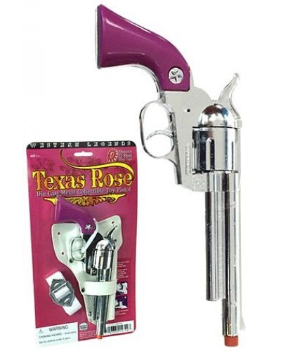 Texas Rose Silver Revolver 12 Shot Ring Cap Gun