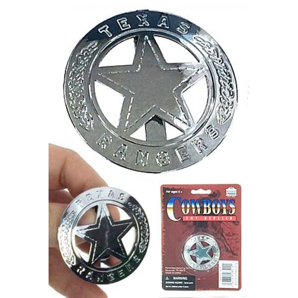 Texas Ranger Badge Circle Silver Star Tin Wild West Clip On
