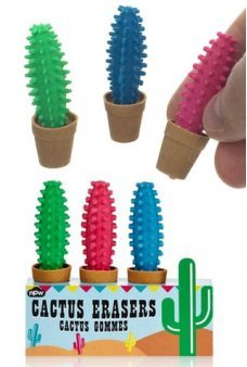 Cactus Erasers Colorful Set of 3