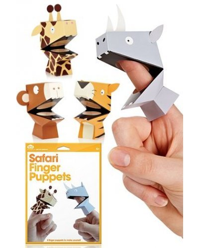Safari Finger Puppets Colorful Set of 4