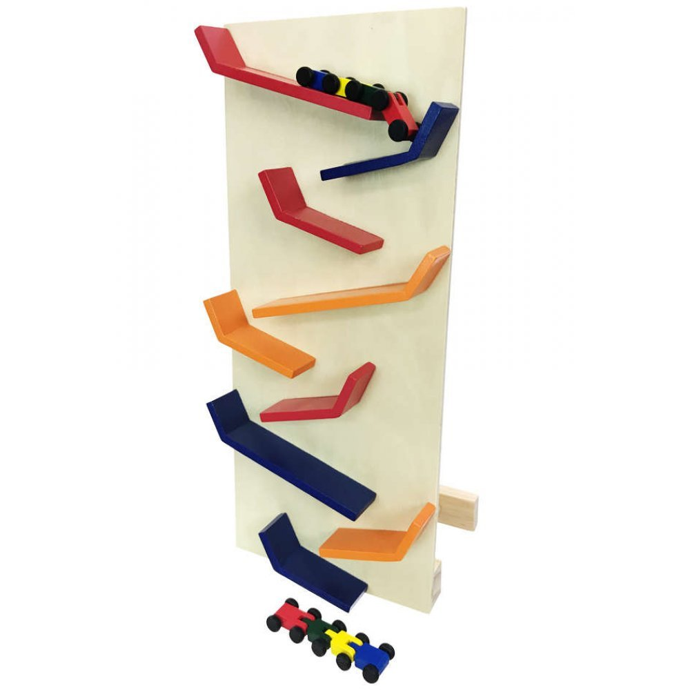 zig zag racing set : wooden vertical track : colorful english