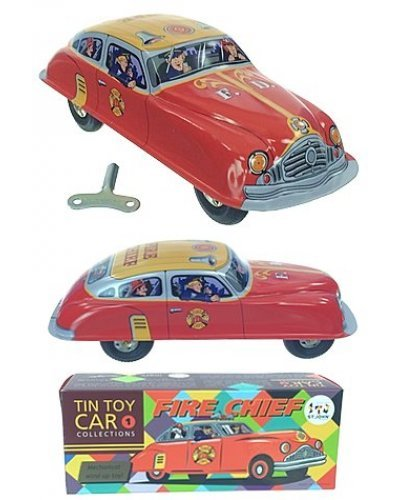 Fire Chief Red Windup Tin Toy Car