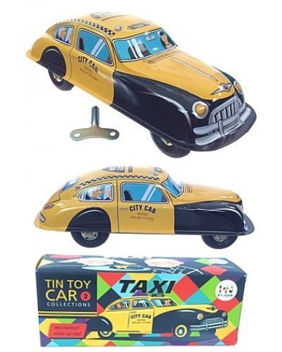 Yellow Taxi Cab Windup Tin Toy Car