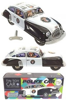 Police Car Wind Up Tin Toy Automobile Marx