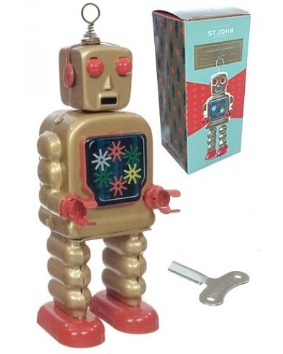 High Wheel Robot Gold Tin Toy Special
