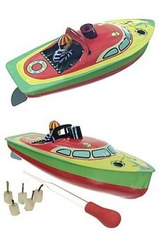 Victoria Colorful Pop Pop Tin Toy Boat