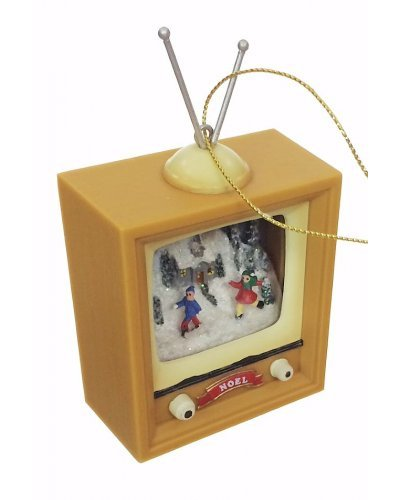 Christmas Skaters Retro TV Ornament