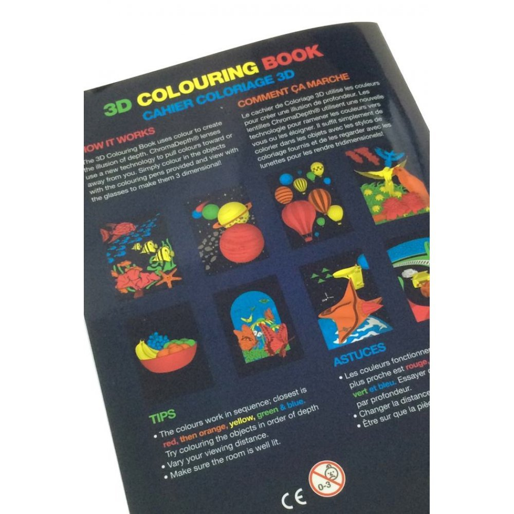 3D Coloring Book Kit : ChromaDepth Glasses : Art Optical Science