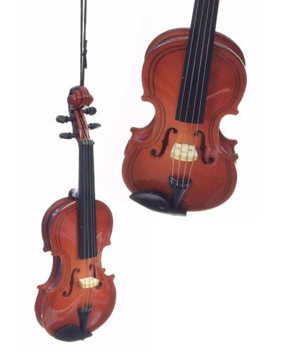 Violin Christmas Ornament : Classical Music : Wooden Detailed