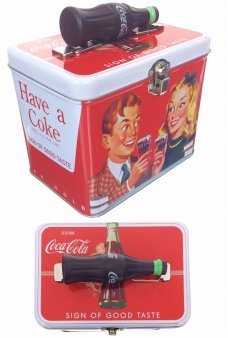 Coca Cola Couple Tin Box Bottle Handle 1957