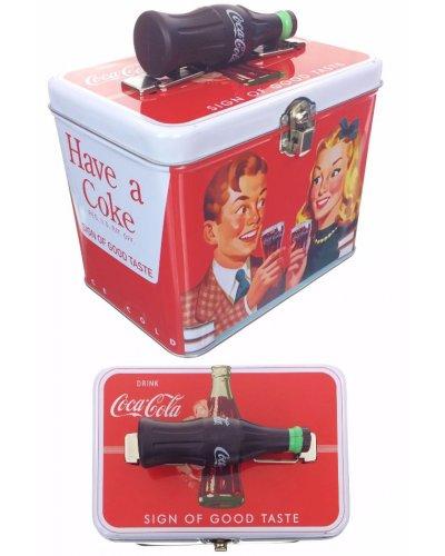 Coca Cola Couple Tin Box Bottle Handle 1957