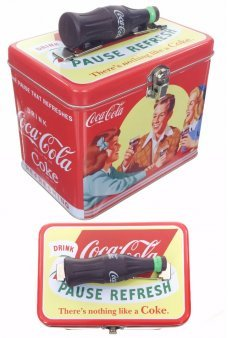 Coca Cola Friends Tin Box Bottle Handle 1958