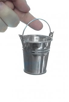 Tiny Tin Pail Silver Metal Bucket