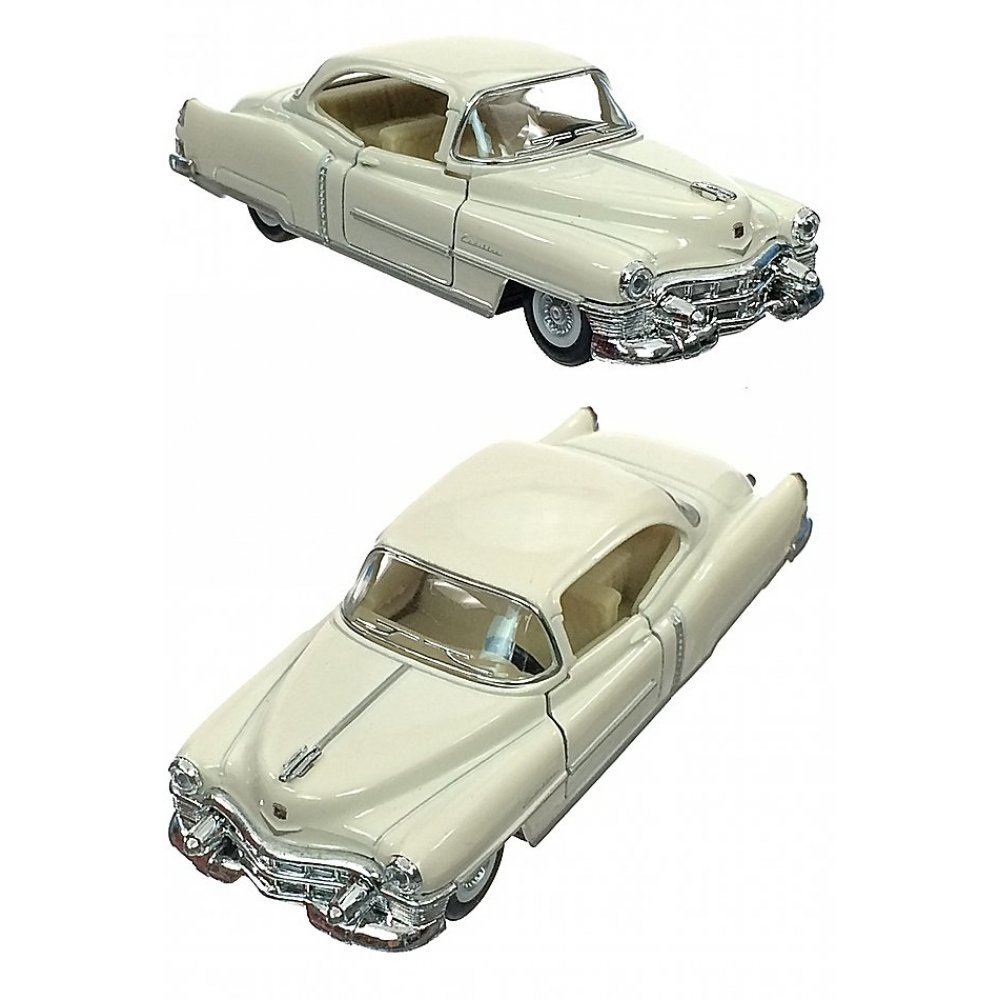 Cadillac 1953 White Car Metal Die Cast Series 62 Pull Back
