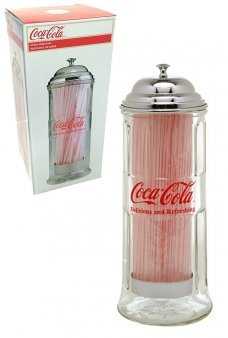 Coca Cola Straws Dispenser Glass Chrome