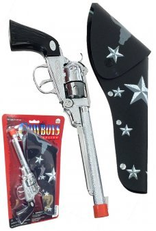 Silver Metal Long Barrel Cowboy Paper Roll Cap Gun