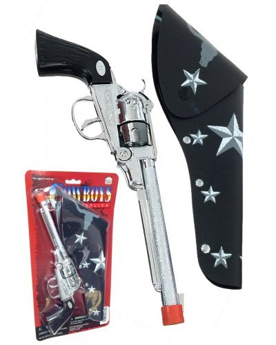 Silver Metal Long Barrel Cowboy Cap Gun