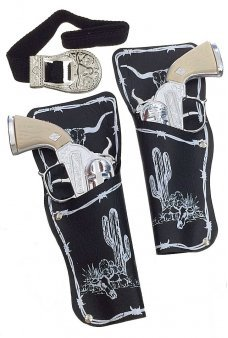 Black Double Holster Silver Metal Guns Set