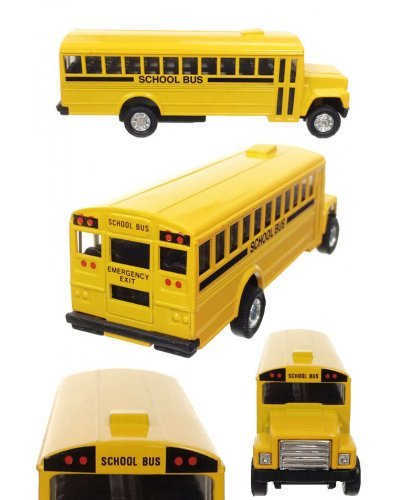 Yellow School Bus 1970s Pull Back Die Cast