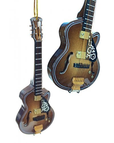 F Hole Acoustic Brown Guitar Ornament