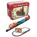 Toy Train Set in a Red Tin Box Locomotive