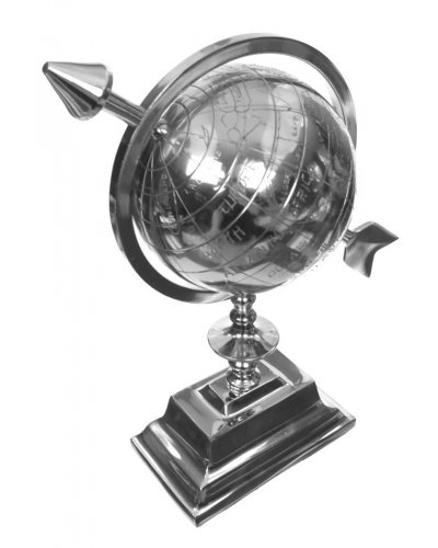 Silver Spinning Globe with Large Arrow 1950