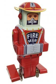 FD Robot Future Fireman Tin Toy Windup