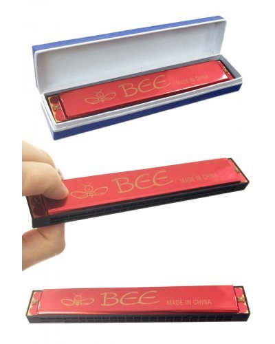 Red Harmonica Large 24 Holes Bee Brand