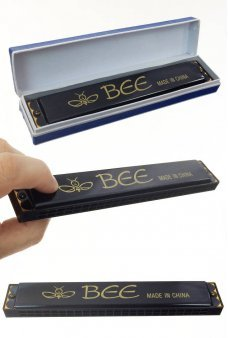 Black Harmonica Large 24 Holes Bee Brand