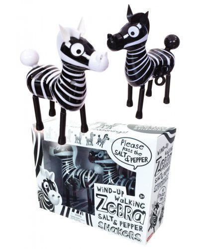 Windup Walking Zebra Salt Pepper Shakers