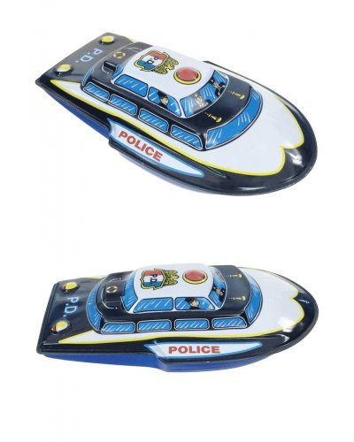Police Boat on Wheels Friction Rolling Tin Toy