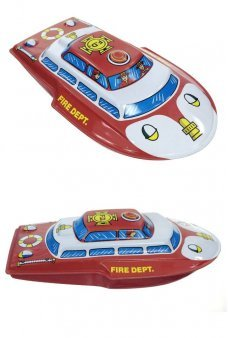 Fire Department Boat Friction Rolling Tin Toy