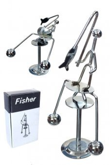 Fisher Man Silver Balancing Mini Sculpture